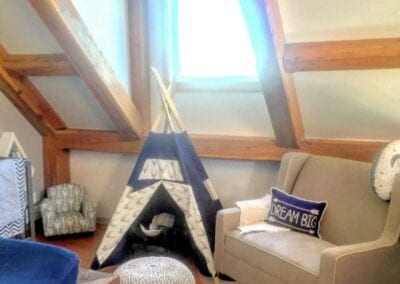 child's space with small teepee