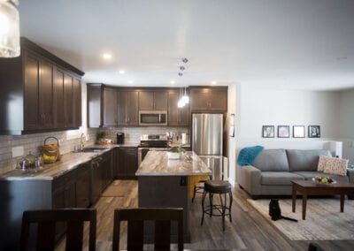 Dark open concept kitchen and living room